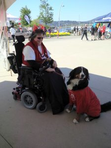 Michelle and Lacey at the MS Walk, dressed in red